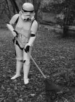 Storm Trooper raking leaves by JediSeeker1