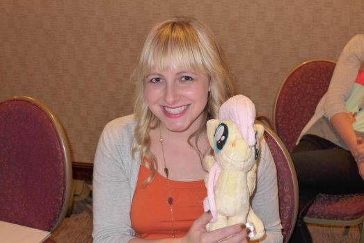 Andrea Libman with filly Fluttershy by Spark-Strudel