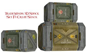 TW3D Sci Fi Crates Stacked by TW3DSTOCK