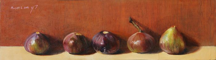 BALADI - figs still life painting by roni-yoffe