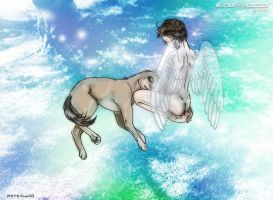 Supernatural fanart : Boy@Cass with a Dog@Dean by noji1203