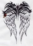 Tribal Wing Tattoo by intoxicatus