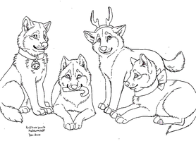 Christmas Wolves Lineart by MS-Paint-Friendly