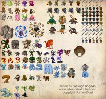 Various Pixel Monsters by Sylvant