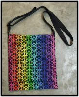 Messenger Bag - Rainbow Peace Sign by RebelATS