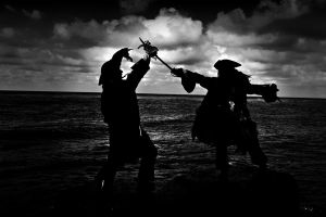 Capt. Jack vs Capt Barbossa by monsterfiend
