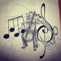 Cellist sketch by coraldaisy