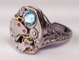 Steampunk Ring w Blue Crystals by SteamDesigns