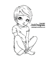 Sitting girl by JadeDragonne
