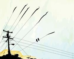 power pole with crows by raincloud7