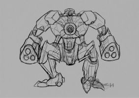 Robot Sketch, rough by Brollonks