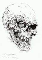 Skull Tattoo Drawing by linkerart
