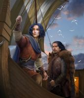 Griff and Aegon by steamey