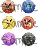 New Revamped Buttons Eeveelutions by R3YD1O