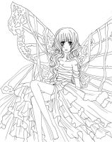 BUTTERFLY Woman Lineart by GORGEOUScissors