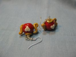 Red + Gold and Pearl Teapot Earrings by okapirose