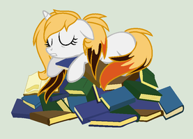 Napping on a bed of books by Paige-the-unicorn