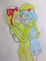 Nitori and Hina in spacesuit by Nekomi4