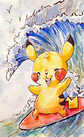 Surfing Pikachu by fuses