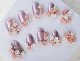 3d wedding style roses nails by jadelushdesigns