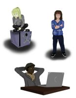 Leverage stickers  Parker, Eliot, and Hardison by MarieDRose