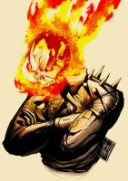 Johnny Blaze Smiling Coloured by DarroldHansen
