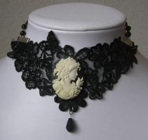 cream goth victorian necklace by kaitani81