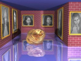 Raytraced museum with drawings I did by mcsoftware