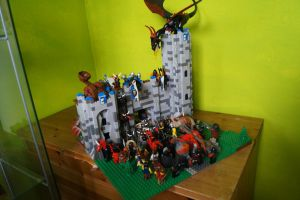 lego moc castle attack (front view) by kabhes