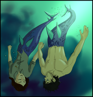 Hannibal mermaid AU - Holding hands by FuriarossaAndMimma