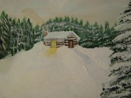 Snowy Cabin by Art-By-Mark