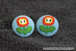 Cute mario fireflower earrings by SongThread
