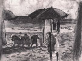 Drawing in charcoal on the beach by oridan2
