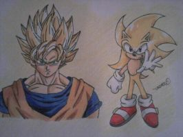 Goku and Sonic, Two Supers by android17lover