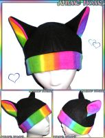 Rainbow Kitty Hat by AnimeNomNoms