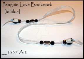 Penguin Love Bookmark in blue by 1337-Art