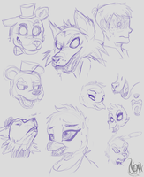 Five Nights at Freddy's Character Sketches by TheNornOnTheGo