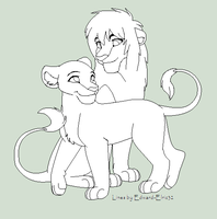 Lion Couple Base 2 by Kainaa