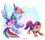Rainbow Dash and Scootaloo for Kallisti III by Adlynh