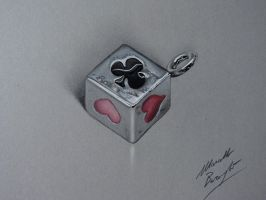 Realistic speed drawing Card Suit Pendant by marcellobarenghi
