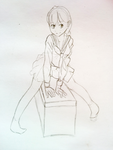 Pencil Sketch 6 - Girl sitting on a thing. by bombpersons