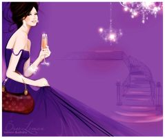 purple gown fashion illustrati by BreeLeman