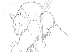Werewolf Lineart for ms paint by xXDemonSoulXx