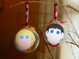 Merlin and King Arthur Xmas Baubles by Elyssiel