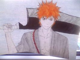 Ichigo on the paper by bloodplusrocks