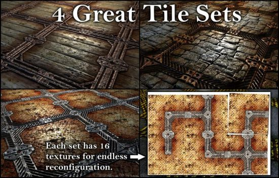 4 Frame Tile Sets by SpiralGraphic