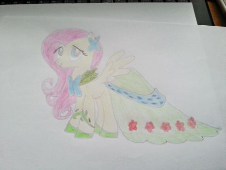 Fluttershy in dress by Dont-worry-cookie