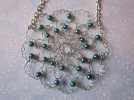 Crocheted Teal Beaded Wire Flower Necklace by PamGabriel