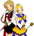 Sailor Scorpius and Quasar by xPureMapleCanadianx