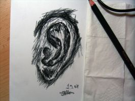 charcoal drawing - ear - 1. by xe3tec